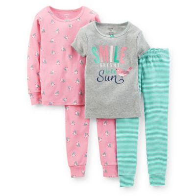 "Carter's® Size 12M 4-Piece ""Smile Bright Like The Sun"" PJ Set in Grey"
