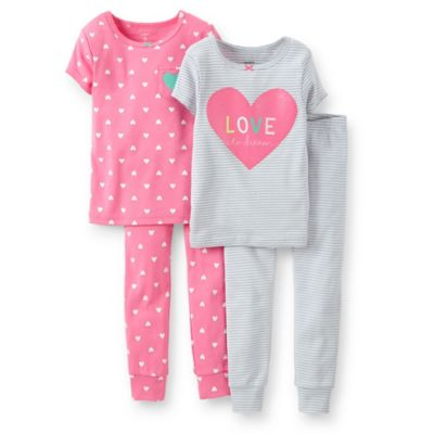 """Carter's® Size 2T 4-Piece """"Love to Dream"""" PJ Set in Grey/Pink"""