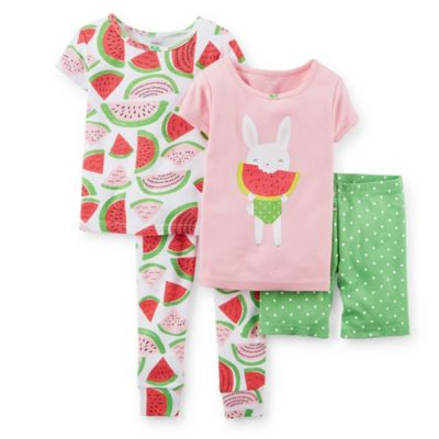 Carter's® Size 4T 4-Piece Watermelon Print PJ Set in Pink