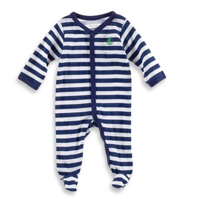 Sterling Baby Sailboat Striped Footie in Navy/White