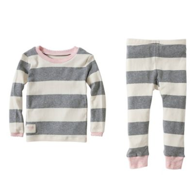 Burt's Bees Baby™ Size 12M 2-Piece Organic Cotton Rugby Stripe Tee and Pant PJ Set in Pink