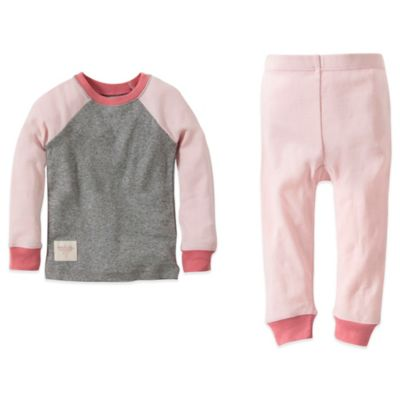 Burt's Bees Baby™ Size 12M 2-Piece Organic Cotton Colorblock Tee and Pant PJ Set in Pink