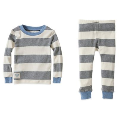 Burt's Bees Baby® Size 12M 2-Piece Organic Cotton Rugby Stripe Tee and Pant PJ Set in Blue