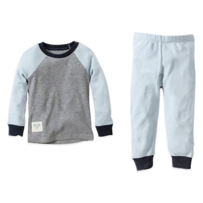 Burt's Bees Baby® Size 12M 2-Piece Organic Cotton Colorblock Tee and Pant PJ Set in Blue