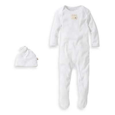Burt's Bees Baby® Size 0-3M Organic Cotton 2-Piece Footed Coverall and Knot Top Hat Set in White