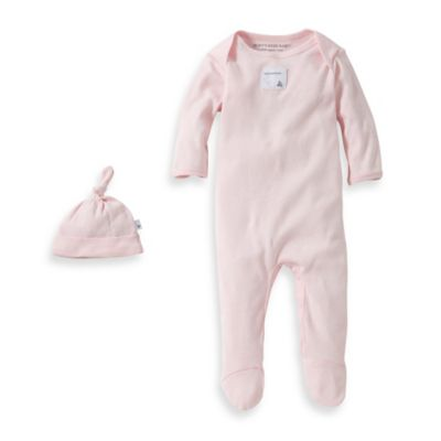 Burt's Bees Baby™ Preemie Organic Cotton 2-Piece Footed Coverall and Knot Top Hat Set in Pink
