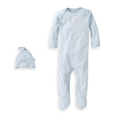 Burt's Bees Baby™ Preemie Organic Cotton 2-Piece Footed Coverall and Knot Top Hat Set in Blue