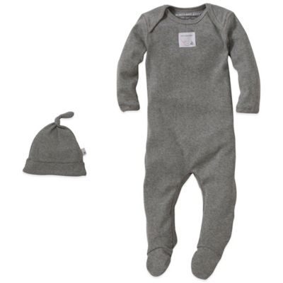 Burt's Bees Baby® Size 0-3M Organic Cotton 2-Piece Footed Coverall and Knot Hat Set in Grey
