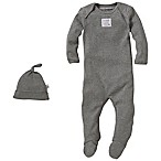 Burt's Bees Baby® Size 3-6M Organic Cotton 2-Piece Footed Coverall and Knot Hat Set in Grey