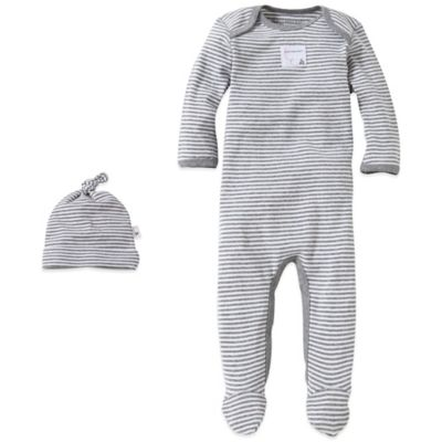 Burt's Bees Baby® Size 0-3M Organic Cotton 2-Piece Footed Coverall and Hat Set in Grey Stripe