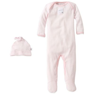 Burt's Bees Baby™ Preemie Organic Cotton 2-Piece Footed Coverall and Hat Set in Pink Stripe