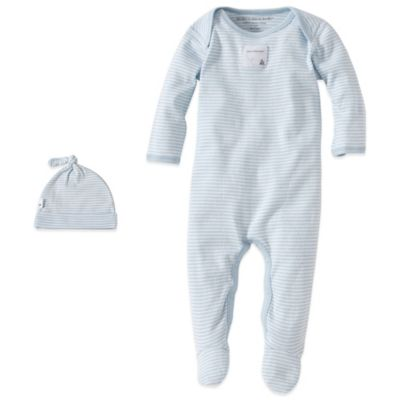 Burt's Bees Baby® Size 0-3M Organic Cotton 2-Piece Footed Coverall and Hat Set in Blue Stripe