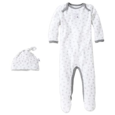 Burt's Bees Baby® Size 0-3M Organic Cotton 2-Piece Footed Coverall and Hat Set in Bee/Grey