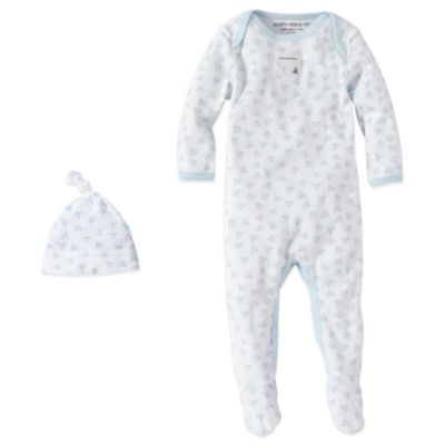 Burt's Bees Baby® Size 0-3M Organic Cotton 2-Piece Footed Coverall and Hat Set in Bee/Blue
