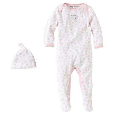 Burt's Bees Baby® Size 0-3M Organic Cotton 2-Piece Footed Coverall and Hat Set in Bee/Pink