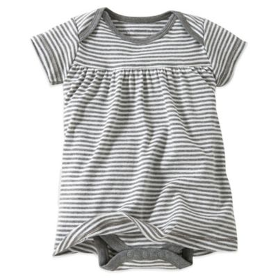Burt's Bees Baby® Size 0-3M Organic Cotton Short Sleeve Dress in Grey Stripe