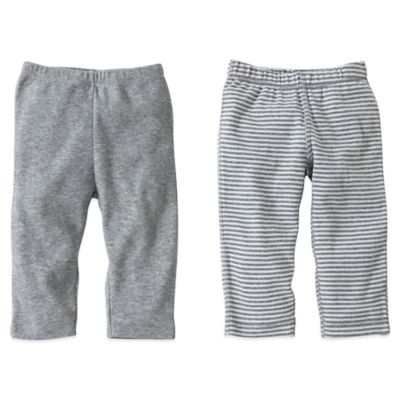 Burt's Bees Baby™ Preemie 2-Pack Organic Cotton Footless Pant in Grey Solid/Stripe
