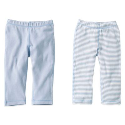 Burt's Bees Baby® Size 0-3M 2-Pack Organic Cotton Footless Pant in Light Blue Solid/Stripe