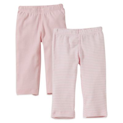 Burt's Bees Baby™ Preemie 2-Pack Organic Cotton Footless Pant in Pink Solid/Stripe