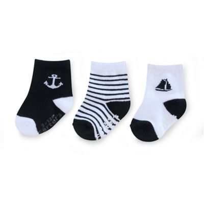 Carter's® Size 2-4T 3-Pack Nautical Computer Socks in Black/White