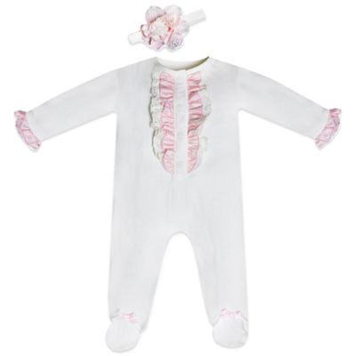 Wendy Bellissimo™ Size 6M 2-Piece Ruffle Footie and Flower Headband Set in White/Pink