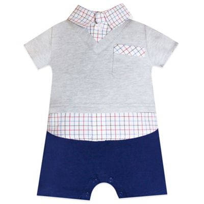 Wendy Bellissimo™ Size 6M Faux Dress Shirt Romper in Grey/Navy