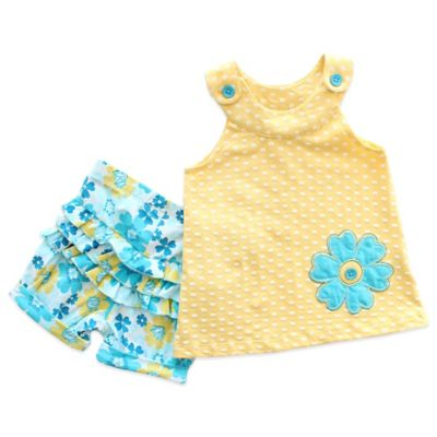 Planet Cotton® Size 4T 2-Piece Sleeveless Flower Tunic and Ruffled Short Set in Yellow/Blue