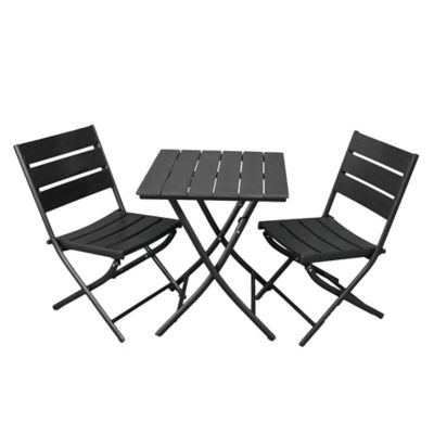 Canyon Square 3-Piece Bistro Set in Black