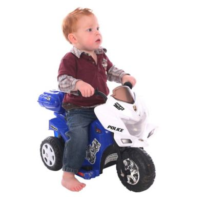 Kid Motorz Lil Patrol 6-Volt Motorcycle Ride-On in Blue & White