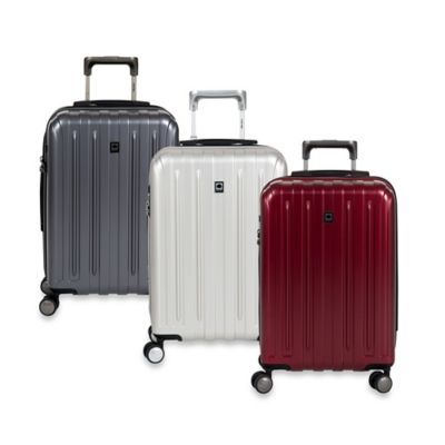 DELSEY Helium Titanium 20-Inch Expandable Spinner Trolley in Black Cherry