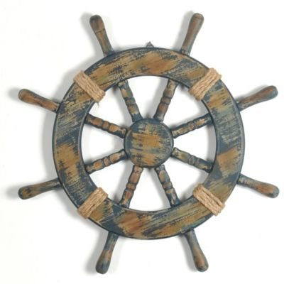 Blue Ship Wheel Wooden Wall Plaque