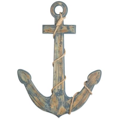 Blue Anchor Wooden Wall Plaque