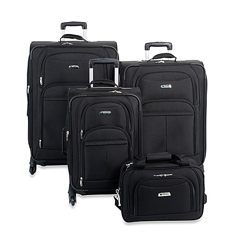buy delsey illusion 4 piece luggage set in black from bed bath beyond. Black Bedroom Furniture Sets. Home Design Ideas