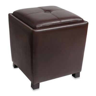 Bonded Leather Tapered Ottoman