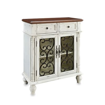 Powell Shabby 2-Drawer/2-Door Console in White