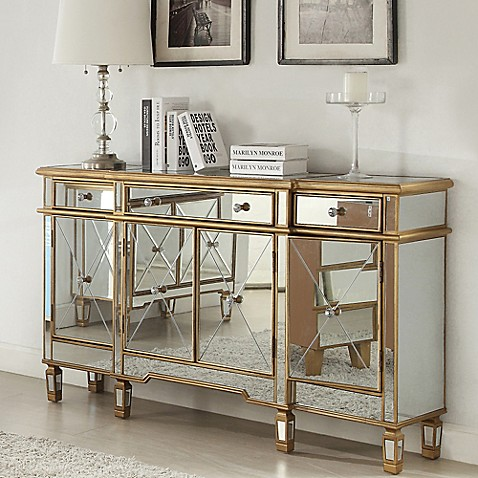 Buy powell gold and mirrored 3 drawer 4 door console from for Mirrored console with drawers