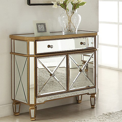 Buy powell gold and mirrored 1 drawer 2 door console from for Sofa table with drawers and doors