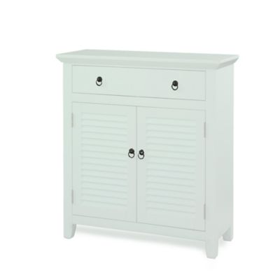 Powell White Shutter 1-Drawer 2-Doors Console