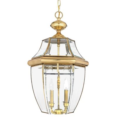 Quoizel Newbury Ceiling Mount Outdoor Large Hanging Lantern in Polished Brass