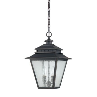 Quoizel Carson Ceiling Mount Outdoor Hanging Lantern in Weathered Bronze