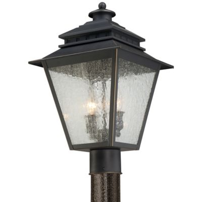 Quoizel Carson Outdoor Post Lantern in Weathered Bronze