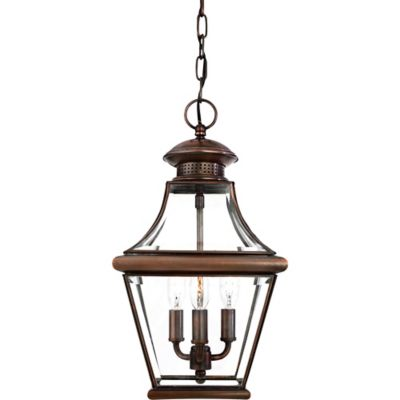 Quoizel Carleton Outdoor Medium Hanging Lantern in Aged Copper