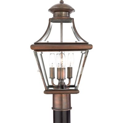 Quoizel Carleton Outdoor Post Lantern in Aged Copper