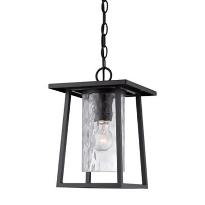 Quoizel Lodge Ceiling Mount Outdoor Hanging Lantern in Mystic Black