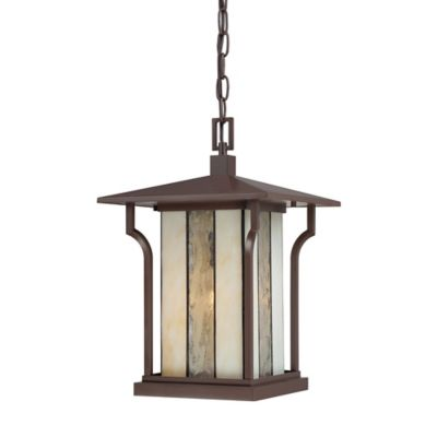 Quoizel Langston Ceiling Mount Outdoor Hanging Lantern in Chocolate Bronze