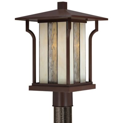 Quoizel Langston Outdoor Post Lantern in Chocolate Bronze