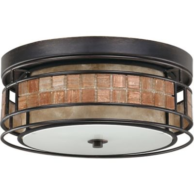 Quoizel Laguna Flush Mount Outdoor 3-Light Ceiling Lamp in Renaissance Copper