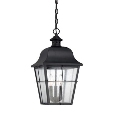 Quoizel Millhouse Ceiling Mount Outdoor Hanging Lantern in Mystic Black