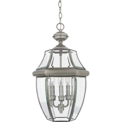 Quoizel Newbury Ceiling Mount Outdoor Large Hanging Lantern in Pewter