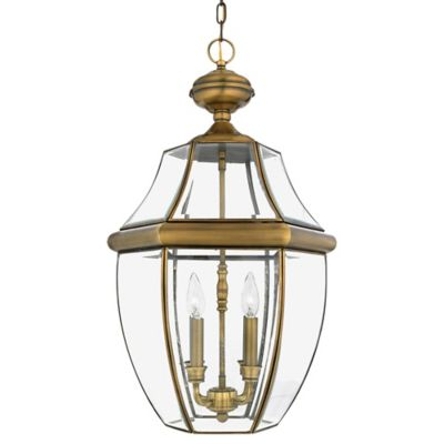 Quoizel Newbury Ceiling Mount Outdoor Hanging Lantern in Antique Brass